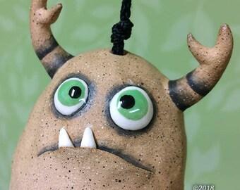 """Monster Bell """"Marsha""""- handmade ceramic windchime fun garden art gift"""