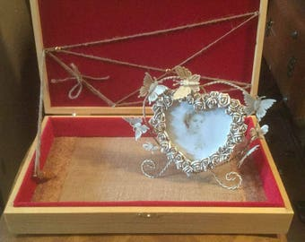 Lined Writing Box, Wood Storage Box, Filigree Embellishments, Jewelry, Journal Notes, Storage, Stash Box
