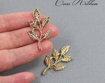42mm Gold Alloy Leaf Leaves Metal Embellishment Cabochons - 6 pieces A34