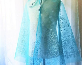 Ice Queen Embroidered Organza Cape