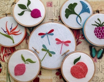 Hoop Art by mlmxoxo.  Farmers Market Collection.  hand embroidered. fruit. flower. ginkgo. radish. peach. lemon. bird of paradise. dragonfly