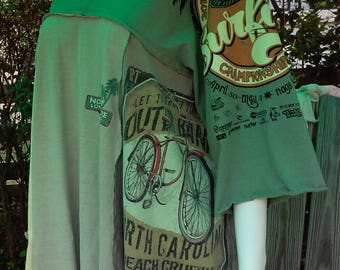 One Size up to XL Tee Tunic Surfer Girl Taupe & Mossr