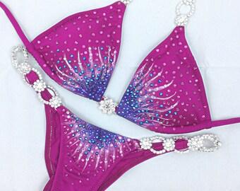 Hand painted fuchsia competition bikini