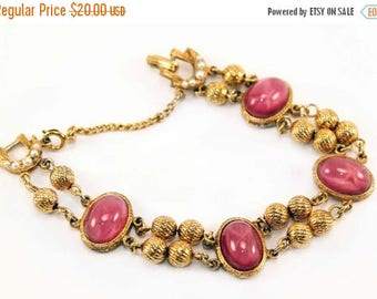 20% OFF SALE - Vintage Pink Cat's Eye Cabochon and Faux Pearl Bracelet