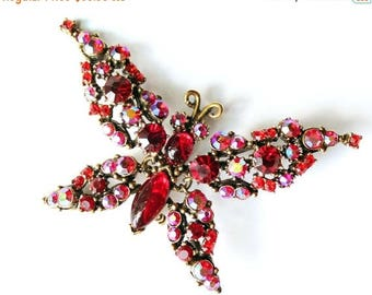 20% OFF SALE - FLORENZA Siam Cabochon and Rhinestone Trembler Butterfly Brooch