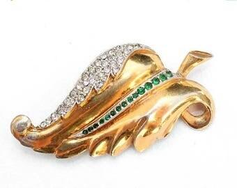 20% OFF SALE - Emerald and Crystal Clear Rhinestone Leaf Gold-Plated Brooch