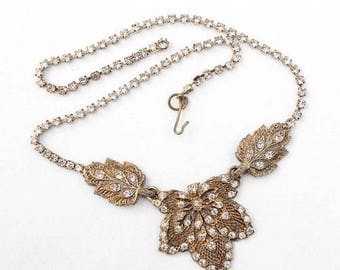 20% OFF SALE - Elegant and Ornate Crystal and Antiqued Gold Tone Metal Necklace