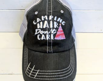 Camping Hair Don't Care hat, tee pee, trucker hat, camping, camping hair, camping hat