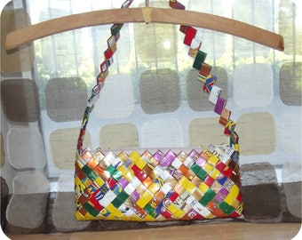 Vintage Handmade Candy Wrapper Purse | Recycled Sabrito Wrappers Clutch | Trashion Fashion Handbag