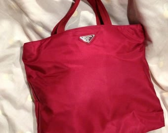 July Sale. Vintage Prada Bag. Shopper Tote. Maroon Red. Authentic. Excellent Condition.