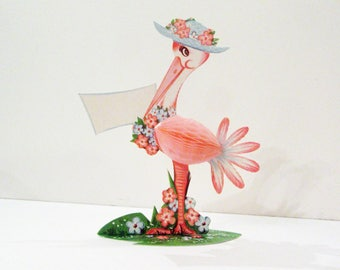 Vintage Stork Place Cards Paper Favors from Denmark...Enchanting Baby Shower Decorations