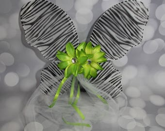 Zebra Print Fairy Wings, Girls Animal Print Fairy Wings, Butterfly Wings, Children's Pixie Wings,  Lime Green Play Wings, FW1726