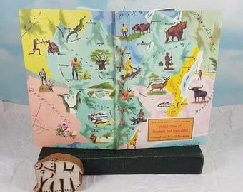 Federation of Rhodesia and Nyasaland Map Travel Journal from Vintage American Geographical Society Colorful Classroom Map