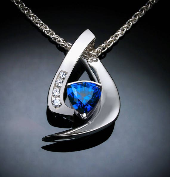 blue sapphire necklace, white sapphires, September birthstone, Chatham lab created sapphire, Argentium silver, fine jewelry - 3369