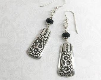 Demitasse Spoon Earrings, with Black Onyx, Dangle Silverware Earrings, Spoon Jewelry, 'Silver Belle' Circa 1940