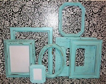 Set of 7 Robins Egg Blue Distressed Picture Frames for Gallery Wall, Wedding Decor, Nursery Decor