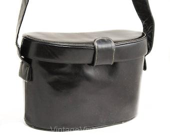1930s 40s Shoulder Bag - Rare Patent Leather Binocular Purse - Kidney Bean Shaped Binoculars Style Handbag - Glossy Black Leather - 50329