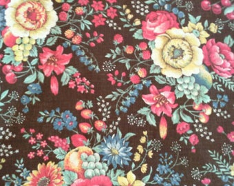 Flowers and Fruit on Brown Background Heavy Cotton Polyester Blend Fabric 3 1/2 Yards X1033