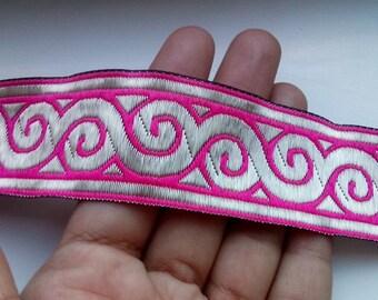 Pink jacquard ribbon trim by yard