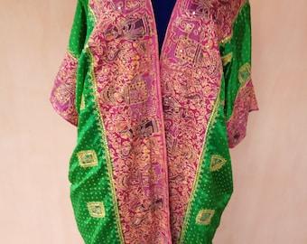 Pure silk embroidered kaftan. Silk cardigan, silk robe, bohemian kaftan, tribal coat