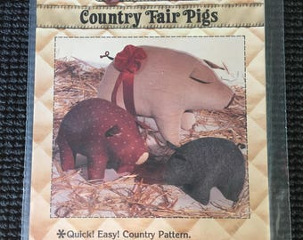 Vintage Patch Press Country Fair Stuffed Pig Sewing Pattern Three Sizes UNCUT