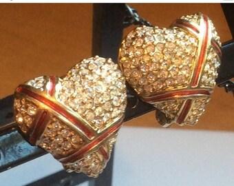 ANNIVERSARY SALE Garnay Rhinestone Heart Earrings with Red Ribbons