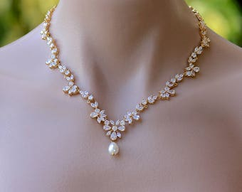 Gold Crystal Necklace,  Crystal Bridal Necklace, Marquise Crystal Jewelry, Gold Wedding Necklace, Crystal Wedding Jewelry, ASHLEY G