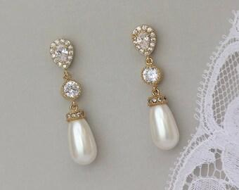 Gold Bridal Earrings, Pearl Bridal Earrings, Cip On Earrings Option,Gold Wedding Earrings, Crystal & Pearl Wedding Earrings,  AUDREY  Pearl