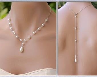 Backdrop Necklace,Pearl Back Drop Necklace, Pearl Bridal Necklace, Back Drop - Option, VANESSA