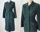 Reserved--1940's Forest Green Gaberdine Suit Skirt Jacket Size X-Small 24 inch Waist
