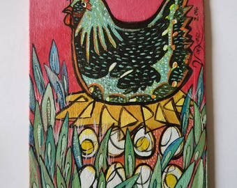 "Marcela the Chicken- Original acrylic on canvas board 5""× 7""-"