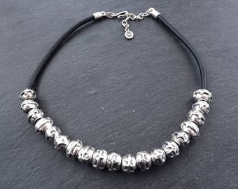 Rustic Tribal Slider Bead Silver & Leather Statement Necklace - Authentic Turkish Style