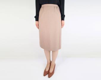 VINTAGE 1950s Pencil Skirt Brown Wool