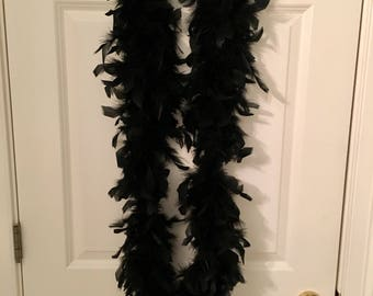 Black Feathered Boa Infinity Scarf