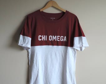 New Chi Omega 2 Tone Short Sleeve Shirt // Size SMALL // Ready to Ship