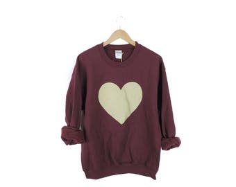 New Adult Maroon & Gold Heart Crewneck // Size MEDIUM // Ready to Ship