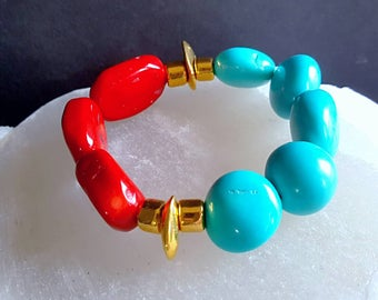 New! Chunky Red Coral and Turquoise Magnesite Stack Bracelet on Gold Boho Chic Gift For Her