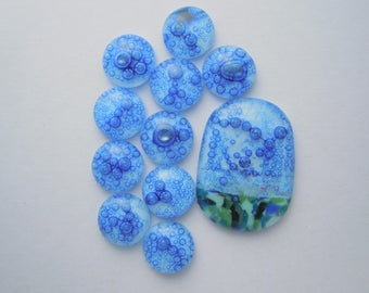 Dichroic Fused Glass Cabochon - Gem Stone - Cabochon Cab - Bead Supply- Glass Bead - Wire Wrapped - Stained Glass 4664