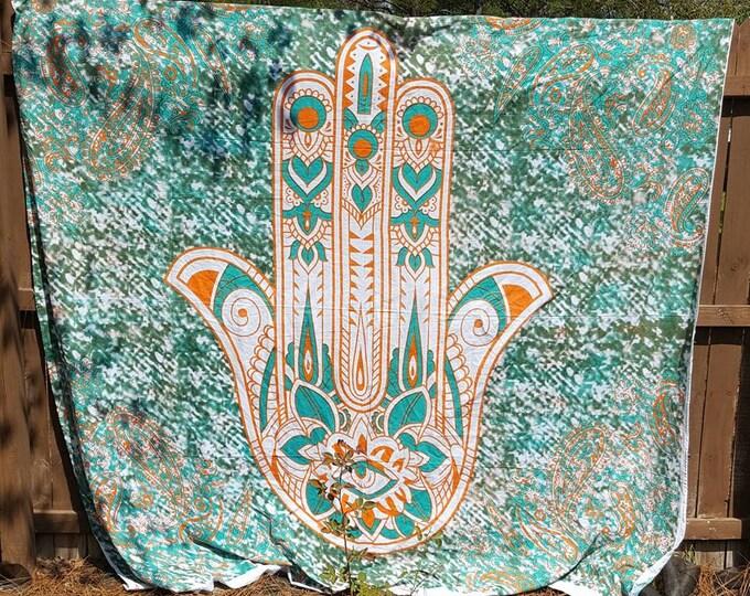 Green and Orange Hamsa Mandala Tapestry Boho Hippie Tapestry Wall Hanging Beach Blanket Yoga Meditation Mat Dorm Decor Music Festival