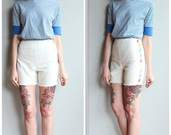1950s Shorts // Perry Striped Cut Off Shorts // vintage 50s shorts