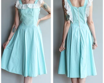 1940s Dress // Country Club Dress // vintage 40s cotton dress