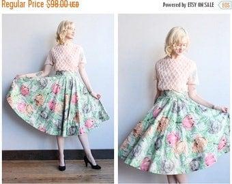20% Off Sale // 1950s Skirt // Madeline Moore Floral Gold Flocked Skirt // vintage 50s circle skirt
