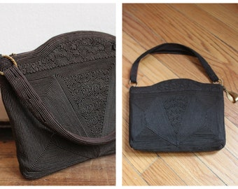 1940s Purse // Dark Brown Cordé Purse // vintage 40s purse