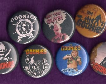 "The Goonies 1"" Pins Buttons Badges Set of 7 1980's Cult Film Classic Retro"