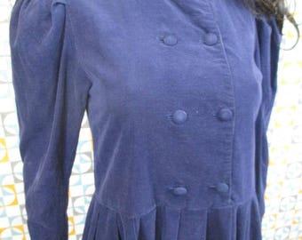 8 S - Vintage 90's Laura Ashley Navy Blue Needlecord L/S Cotton Dress - L660