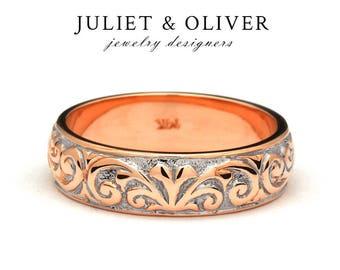 Unusual Wedding Band - Vintage Style Wedding Band - Unusual Wedding Ring - Engraved Floral Ring In Rose Gold