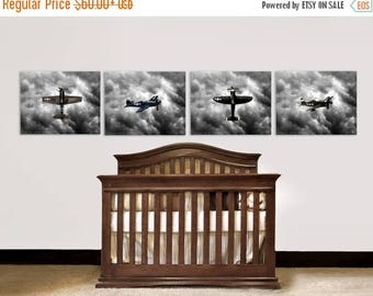 FLASH SALE til MIDNIGHT Nursery Decor, Vintage Airplanes, Baby room ideas, Vintage Wwii Fighter planes Set of Four Prints