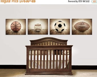 FLASH SALE til MIDNIGHT Vintage Single Baseball, Soccer, Football and Basketball Photo Set of Four Canvases  Ready to Hang, Wall art for boy