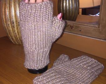 Tan with metallic gold fingerless gloves