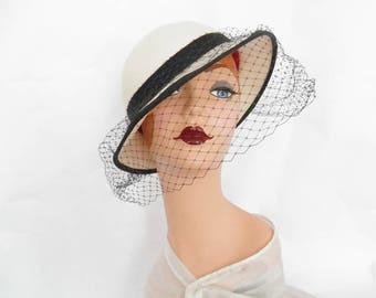 Vintage tilt hat, white, black trim and veil. Importina
